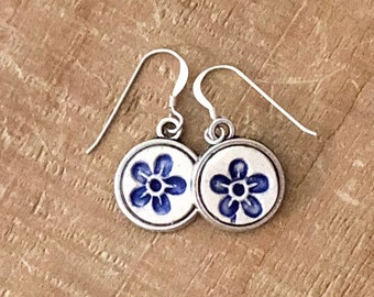 Forget Me Not Earrings, Blue Flower Earrings, Dangle Earrings, Bridal Jewelry, Memorial Jewelry,Delft Blue and White,Gift For Her, True Love