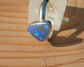 Silver opal ring size M-1/2 - 6 1/4  16.7mm