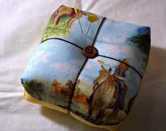 Ride 'em Cowboy Chunky Pincushion OOAK Sewing Notions