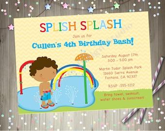 Splash pad birthday party invitation invite splash party invitation pool party water park waterpark splash park CHOOSE YOUR BOY