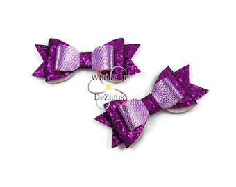 "Purple Glitter Leather Bows - 3.5"" Stacked Shimmery Bow with Tails - Lavender Faux Leather  Double Loop DIY Bows Headband Supplies - 2 Bows"