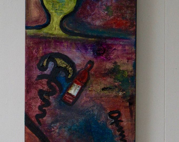 """Abstract Mixed Media Painting """"Uncorked"""""""