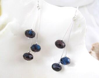 Free Shipping - Blue Sterling Silver Earrings