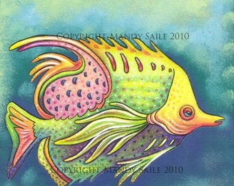 "Funky Fish 9 - an 8 x 10"" ART PRINT of a funk whimsical brightly coloured fish of lemon yellow, pastel pink and lime green"