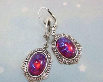 Mexican Opal Earrings Dragon's Breath Earrings Fire Opal Earrings Dangles Victorian Jewelry Gift