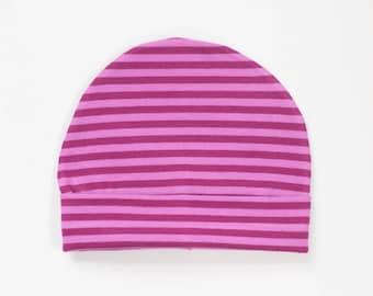 organic baby hat | double berry stripe