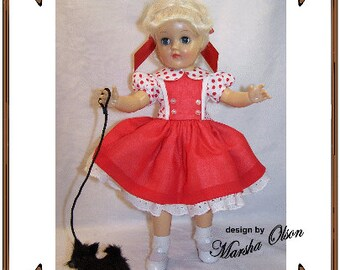 Email PDF - Toni Doll Clothes Pattern -Shirtwaist Dress - No. PDF-203- TONI