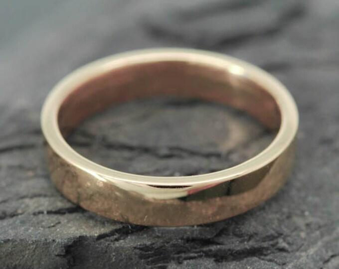 14K Rose Gold Ring, 4mm x 1mm, Wedding Band, Wedding Ring, Rose Gold Band, Flat Band, Square Band, Size up to 10