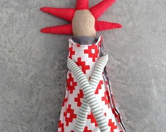 Plushie Softie doll , Handmade fabric doll , decor doll , stuffed  doll , huggable soft doll , eco plush toys , modern rag doll , red mint