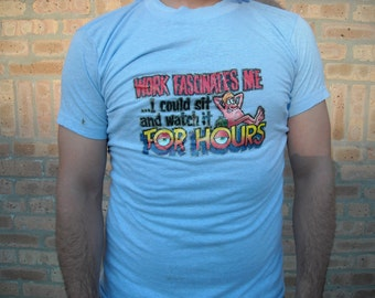 Pastel Blue Mens Tshirt 1970s Glitter Decal Novelty Cartoon Graphic Tee