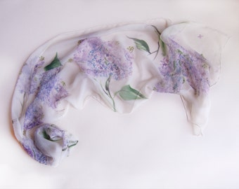 Hand painted silk chiffon scarf-The Lilacs. Floral Handpainted scarves. Lightweight scarf OOAK. White Silk Chiffon Shawl, Woman accessory