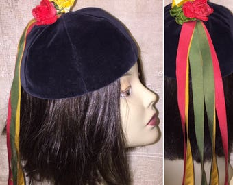 Vintage 1930s 1940s 30s 40s Black Velvet Beanie Hat with Red Yellow Roses and Red Yellow and Green Ribbons Very Unique Beanie Mini Hat