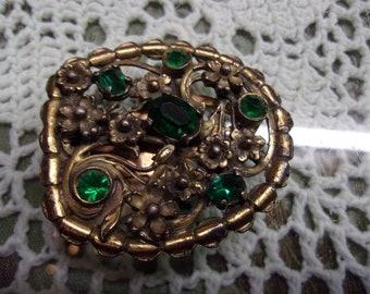 Vintage Green Rhinestone Dress Clip