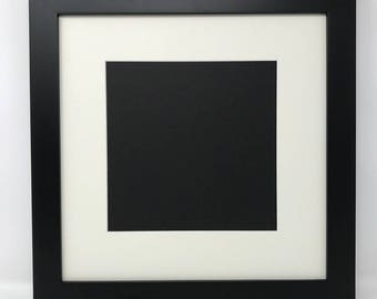 """6x6 1.25"""" Black Solid Wood Picture Frame with Cream Mat Cut for 4x4 Picture"""