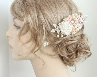 Rose Gold Hairpiece- Rose Gold Bridal Comb- Bridal Hair Accessories- Wedding Hair Accessory- Rose Gold Hair Comb- Blush Bridal Hairpiece