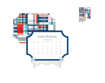 2018 Desk Calendar / Custom Calendar / Calendar with Stand / Bookplate Calendar / 2019 Calendar / Monogrammed Calendar Planner