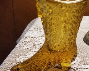 1960s Mosser High Top Amber Glass Boot