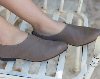 Gray Leather Shoes, Everyday Shoes, Flat Leather Shoes for Women, Handmade Shoes with Back Zipper, Formal Shoes in Taupe Gray