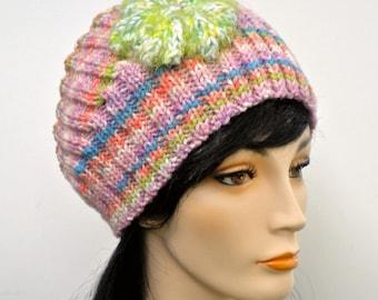 Headband Earwarmer Pastel Flower Sherbet Stripe Hand Knit