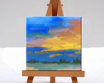 Miniature Landscape, Oil Painting, Original, Small, 3x3 Canvas, Sunset, Blue, Orange, Yellow, Sky, Clouds, Tiny Little, Semi Abstract