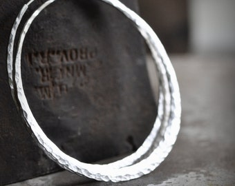 3 inch large silver hoop earring, hand forged, wide, thick, self locking, crescent moon loop, eco friendly