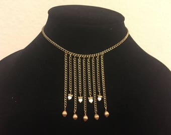 White and Gold Fringe Necklace