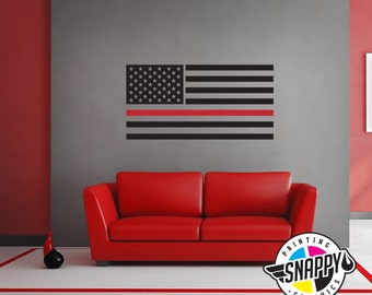 Horizontal Line Art : Thin red line firefighter axe flag wall decal display