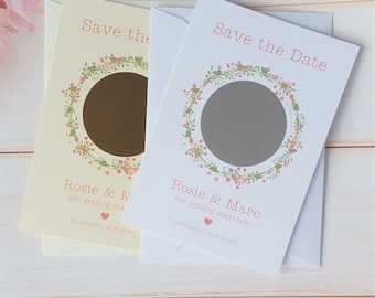 10 Personalised Save the Date Scratch Cards - Pretty Floral Wreath Available in 3 colours