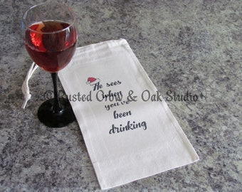 Wine Bag Funny Family Gift for Him He See's You Christmas Wine Tote USA A162