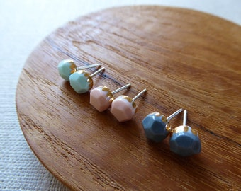 Small Faceted Gem Stud Earrings