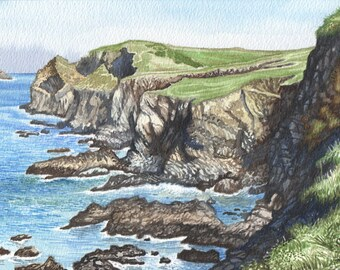 the cliff of Trevone in watercolor, ORIGINAL happy home decor by David Platt, FREE shipping
