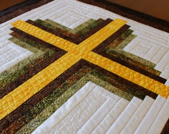 "PDF - Cross Quilt pattern - Log Cabin Christian Cross - Twin size: 66"" x 90"""