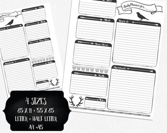 Daily Planner Printable, Printable Daily Schedule, A4, A5, Half Page 5.5x8.5, Full Page 8.5x11, Woodland , Planner pages, Day organizer