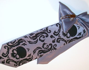 RokGear Necktie - Boys necktie Skull Damask pre tied clip on 14 inches long - custom colors available