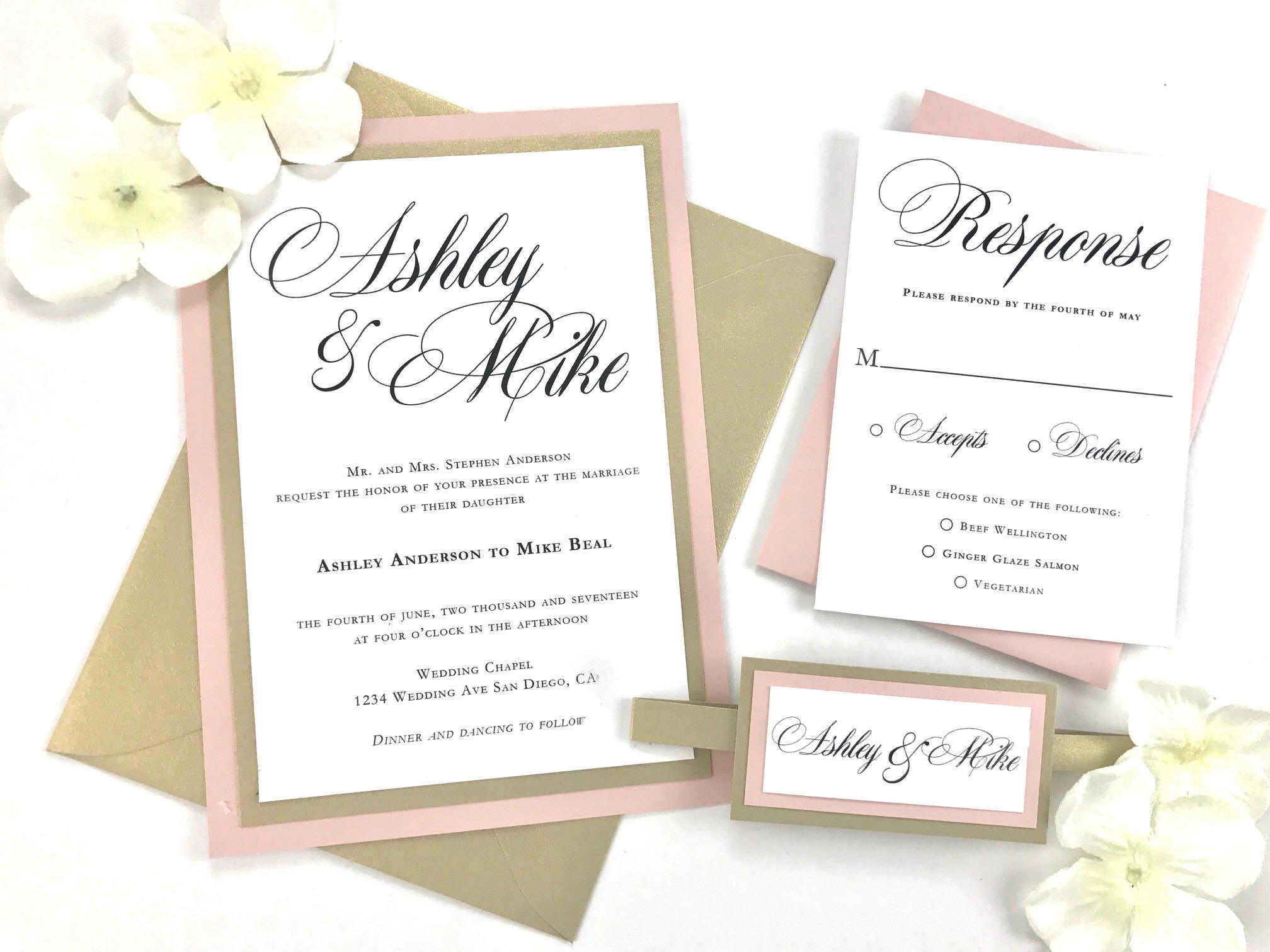 Wedding invitation suite with blush pink and gold pearlescent