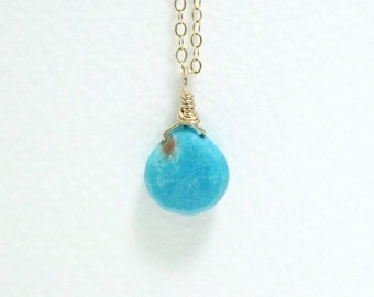 Genuine Turquoise Necklace, Tiny Blue Turquoise Briolette, Dainty Gold Necklace, Minimal, Small Stone, Simple Goldfilled Necklace