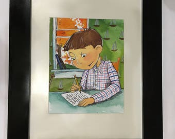 Watercolor of popular novel Island of the Dear Mr. Henshaw by Beverly Cleary