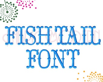 FISHTAIL monogram FONT Embroidery Design  satin stitch Tuscan aka Western font alphabet all letters 2 inch  2.5 inch 3inch