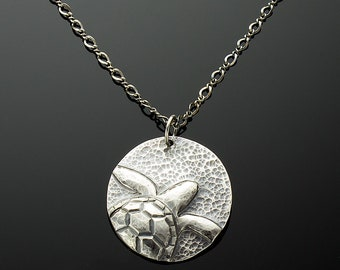 Handmade Sea Turtle Pendant on Chain