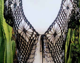 Vintage crochet cap sleeve shrug with silver beads and tassle closure
