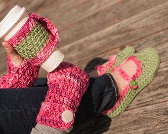 Chevron Scarf, Mary Jane House Shoes, Coffee Cozy, Fingerless Gloves Set, Pink & Green, Ready to Ship