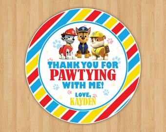Paw Patrol Chase, Marshall & Rubble Favor Tags