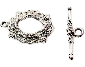 10 Toggle Sets, Finding Supply, DIY, Romantic Antique Silver Toggle and Bar Sets, Oval with Bar with flower design