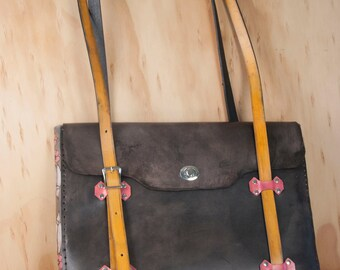 Handmade Leather Laptop Bag - Dakota Pattern with Flowers in Pink, yellow and antique black - Briefcase Style Laptop Messenger Bag