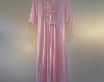 Sugar Pink Nylon and Lace Nightgown 1970's