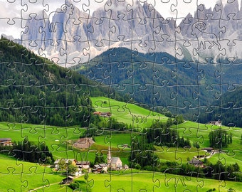 Funes Valley Zen Puzzle - Hand crafted, eco-friendly, American made artisanal wooden jigsaw puzzle