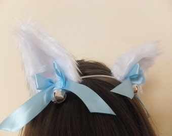 White Furry Wolf Ears Blue Bows Bells Arctic Fox Neko Cat Cosplay on Hair Clips Headband Halloween Costume Festival Fursuit Christmas