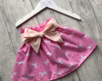Unicorn skirt, skirt, Children's Skirt, Girls Skirt, bunnies, pink skirt, skirt with bow