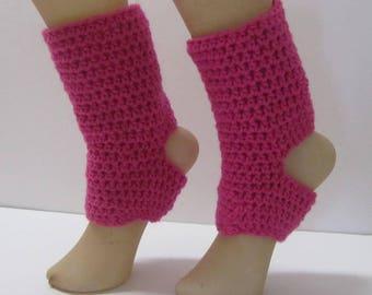 Yoga Dance Pedicure Pilates Toeless Pink Crochet Socks