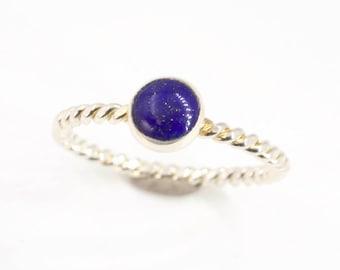Lapis Lazuli Stone Ring, Stacking Ring, Ring Stack, Silver Stacking Ring, Blue Stone Ring, Silver Stacking Rings, Meaningful Stone Ring